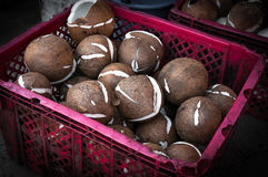 Candies in coconut flakes and fresh coconut in red basket in market Stock Photo