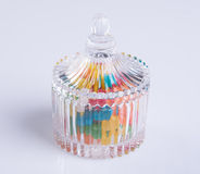 Candies or colorful candies in glass jar on background. Royalty Free Stock Photos