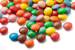 Candies. Colorful chocolate candies on white background Stock Image