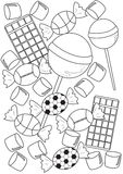 Candies coloring page Royalty Free Stock Image