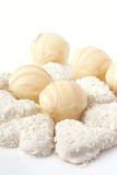 Candies and cookies in white chocolate. Close up royalty free stock images