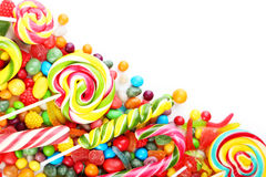 Candies. Different fruit candies on white background stock photo