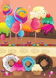 Candies and donuts  Stock Photography