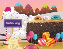 Candies and donuts landscape  Royalty Free Stock Image