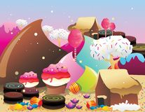 Candies and donuts landscape. Over a color background Stock Photos