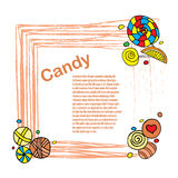 Candies frame Stock Photos