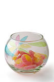 Candies in glass bowl vertical Royalty Free Stock Photos