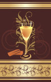 Candies and glass with champagne. Wrapping Royalty Free Stock Photo