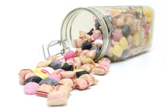 Candies in glass jar. Colorful sweet candy in glass jar Stock Photos