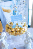 Candies in a glass jar. With words bon appetit Royalty Free Stock Photo