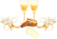 Candies and glasses with champagne Royalty Free Stock Photo