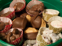 Homemade Candies. Candies in a green container Stock Photo