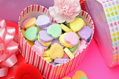 Candies in heart shape box Royalty Free Stock Images