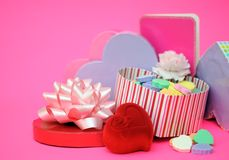 Candies in heart shape box Royalty Free Stock Image