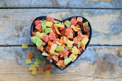 Candies in a heart shaped box Stock Photo