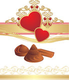 Candies and hearts on the gothic ornament Stock Images
