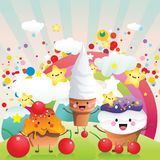 Candies and ice cream vector Stock Photos