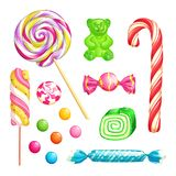 Candies isolated on white background. Vector desserts icons and design elements set. royalty free illustration