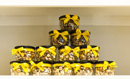 Candies in a jar. On the shelf in the pantry Royalty Free Stock Photo