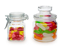 Candies and jelly beans in a jar Stock Photos