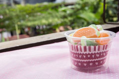 Candies. jelly candies in cup on a background. Royalty Free Stock Photos