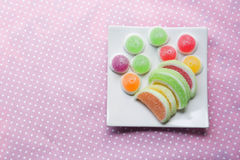 Candies. jelly candies in plate on a background. Stock Photography