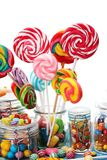 Candies with jelly and sugar. colorful array of different childs sweets and treats. In glass jar stock image