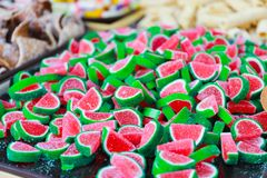 Candies with jelly and sugar. colorful sweets and treats.  royalty free stock image