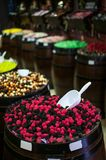 Candies and jellys in barrels Royalty Free Stock Images