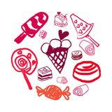 Candies line icons set ,  illustration, sweetest day Stock Photos