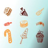 Candies line icons set ,  illustration, sweetest day. PRINT Stock Image