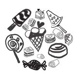 Candies line icons set ,  illustration, sweetest day. PRINT Royalty Free Stock Photography