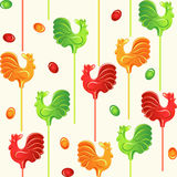 Candies lollipop cocks seamless pattern Stock Photography
