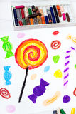 Candies and lollipops drawing Royalty Free Stock Images