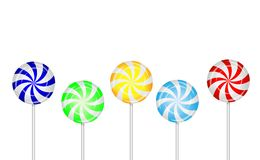 Candies lollipops on a white background Stock Image