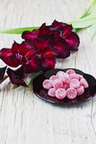 Candies and maroon gladiolus Stock Images