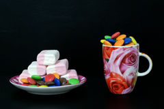 Candies and marshmallow Royalty Free Stock Image