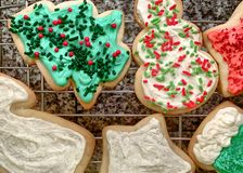 Snowman, star, and stocking iced Christmas cookies stock images