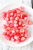 Candies on plate stock photo