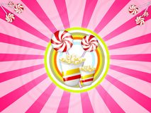 Candies and popcorn. Illustration of candies with red stripes and popcor Stock Photo