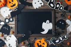 Candies with pumpkins, ghosts and spiders Royalty Free Stock Photo
