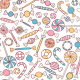 Candies Seamless Pattern Hand Drawn Royalty Free Stock Photography