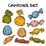 Candies set, multicolor sweets set, assorted candies in sweetie. Paper in vector EPS8 Royalty Free Stock Photography