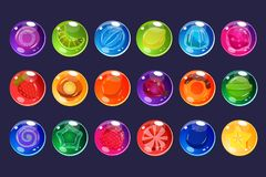 Candies sett, glossy sweets of different colors and tastes vector Illustrations for apps, web and game usetr interface Royalty Free Stock Images