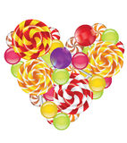 Candies in shape of heart Royalty Free Stock Photo