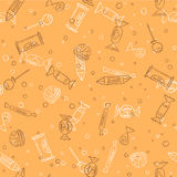 Candies silhouettes seamless pattern in sketch style vector Stock Image