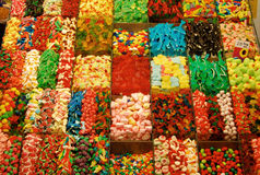 Candies stand - La Boqueria Market, Barcelona Stock Photography
