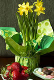 Candies, Strawberries and Daffodils. Daffodils in a green wrapping, with chocolates, candies and strawberries in a kitchen setting Stock Photos