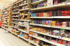 Candies at the supermarket. A view of a wide variety of popular candies at the supermarket stock images