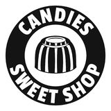 Candies sweet shop logo, simple black style Royalty Free Stock Image